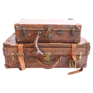 Vintage Leather Suitcases - A Pair