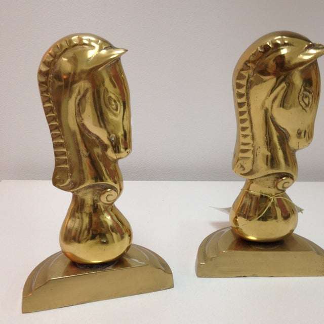 Image of Brass Horse Bookends - Pair