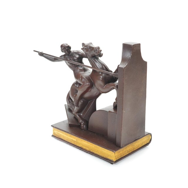 Image of Metal Female Warrior Art Deco Bookends - A Pair