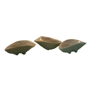 Vintage Studio Art Pottery Oyster Shape Seafoam Green Footed Bowls - Set of 3