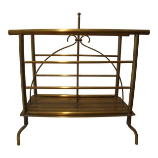Antique Brass English Magazine Stand Rack
