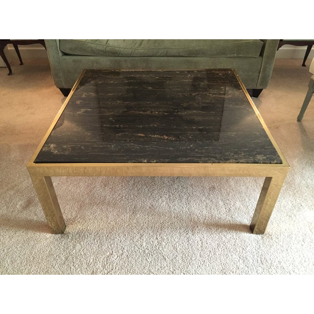 Image of Mid-Century Square Brass And Marble Coffee Table