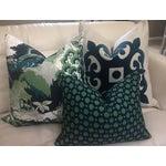 Image of Aqua Velvet Applique Pillow Cover