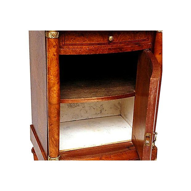 French Neoclassical Burled Mahogany Nightstand - Image 5 of 5