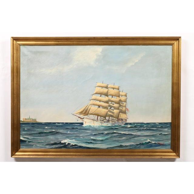"Danish Painting ""Sailing Ship"" - Image 2 of 3"