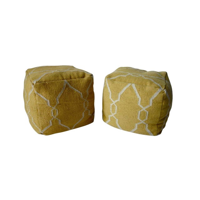 Yellow Dhurrie Poufs -Pair - Image 1 of 5