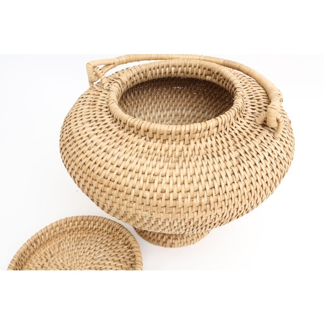 Large Vintage Hand-Woven Herb Basket with Handle - Image 5 of 6