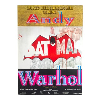 "Andy Warhol Rare 1997 Original Vintage Lithograph Print Italian Exhibition Pop Art Poster ""Batman"" 1964"