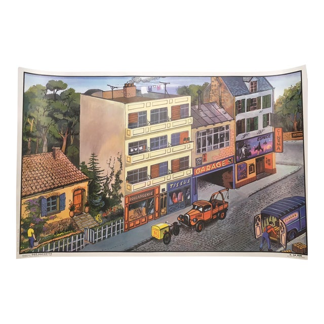 Vintage French School La Rue/La Cuisine Two-Sided Poster - Image 1 of 3
