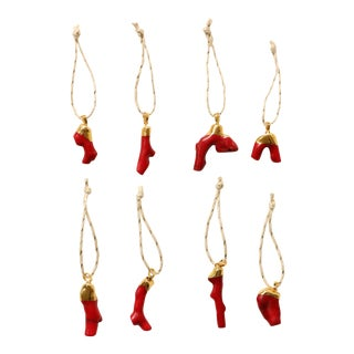 Gold Dipped Coral Christmas Ornaments - S/8
