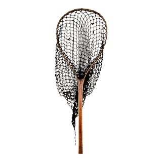Antique Fishing Net with Wooden Handle