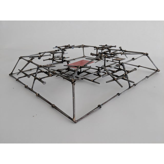 Abstract Brutalist Metal Wall Sculpture - Image 3 of 6