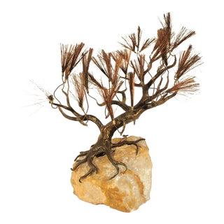 Mid-Century Modern Curtis C. Jere Brutalist Cypress Tree Bronze Onyx Sculpture
