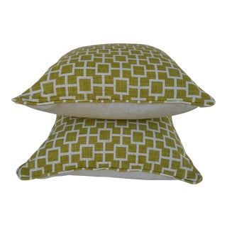 Chartreuse Geometric Pillows - A Pair
