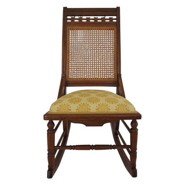 Image of Antique Wood & Cane Rocking Chair