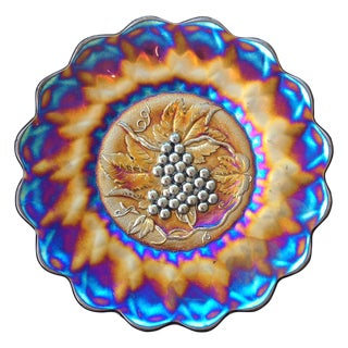 Imperial Grapes Electric Carnival Glass Chop Plate