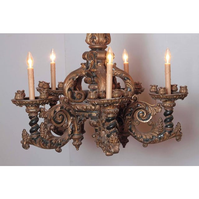 Italian Carved Wood Chandelier - Image 5 of 9