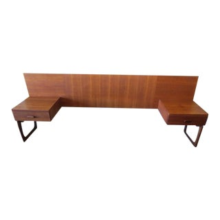 Teak Headboard with Nightstands