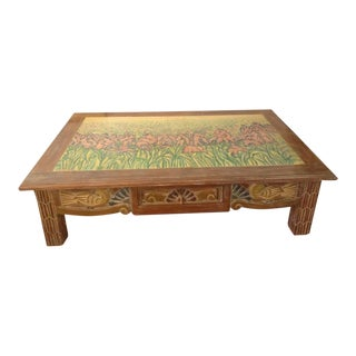 Disenos Caaesa Mexican Painted & Carved Coffee Table