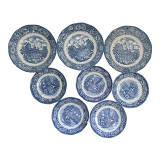 Liberty Blue Staffordshire Transfer Ware Bowls - Set of 8