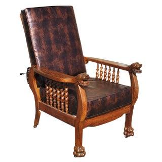 Antique Tiger Oak Barley Twist Morris Chair
