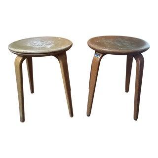 Mid-Century Modern Alvar Aalto Danish Maple Bentwood Stools - A Pair