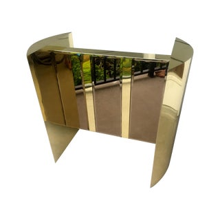 Smoked Mirror & Brass Finish Table Base