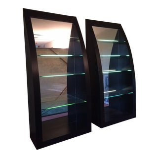 Ello Backlit Shelf Black Bookcases - A Pair