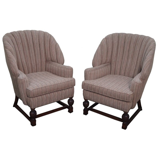 Feudal Oak Jamestown Wing Chairs - A Pair - Image 1 of 10