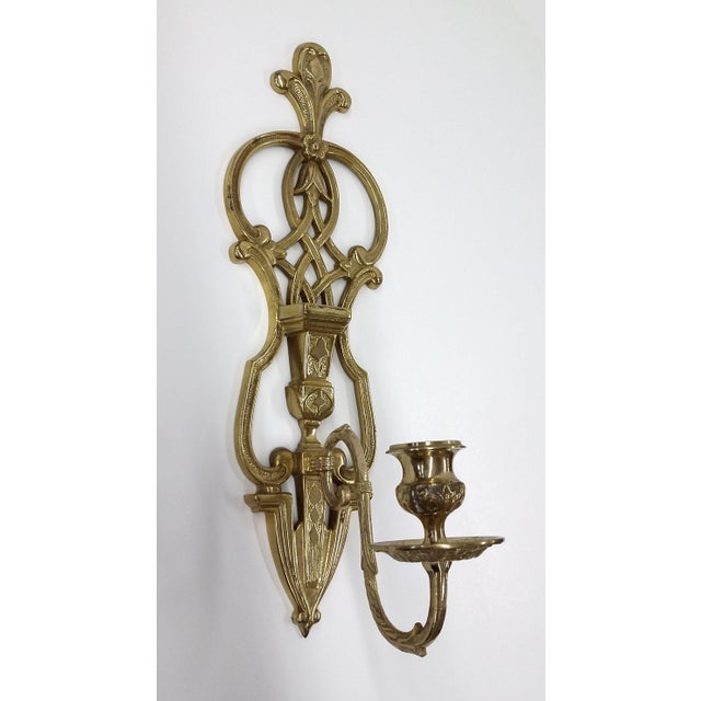 Vintage Brass Tall Candlestick Wall Sconce - Image 10 of 10