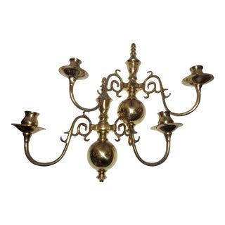 Brass Colonial Wall Sconces Candleholders - a Pair