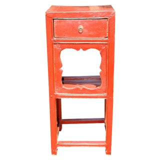 Asian Style Red Lacquer Side Table
