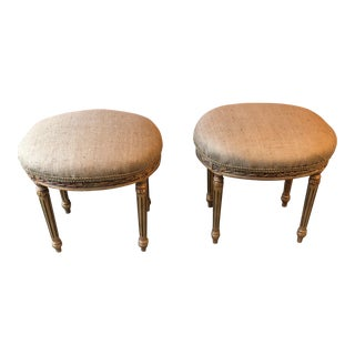 French Louis XV Neoclassical Stools - A Pair