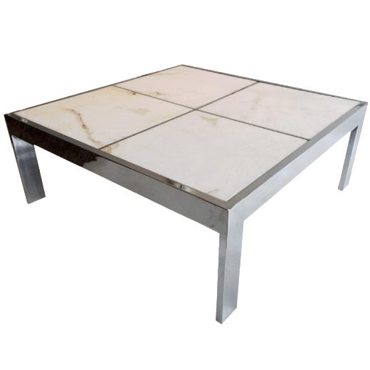 Pace Chrome & Marble Coffee Table - Image 1 of 4