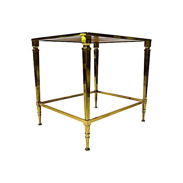 Neoclassical Brass & Glass Auxiliary Side Table - Image 3 of 10