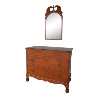 Vintage William & Mary Style Figured Maple Dresser - Chest & Mirror