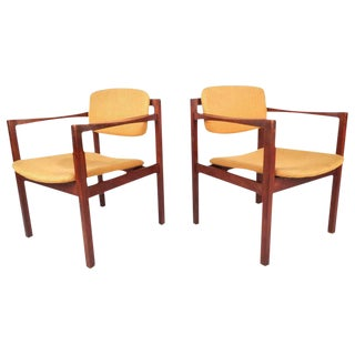 Mid-Century Modern Teak Arm Dining Chairs - a Pair