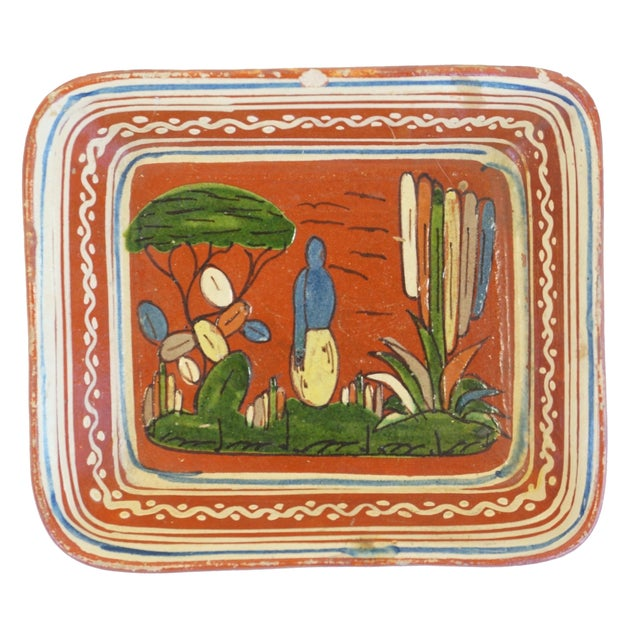 Image of Vintage Hand Decorated Mexican Redware Platter