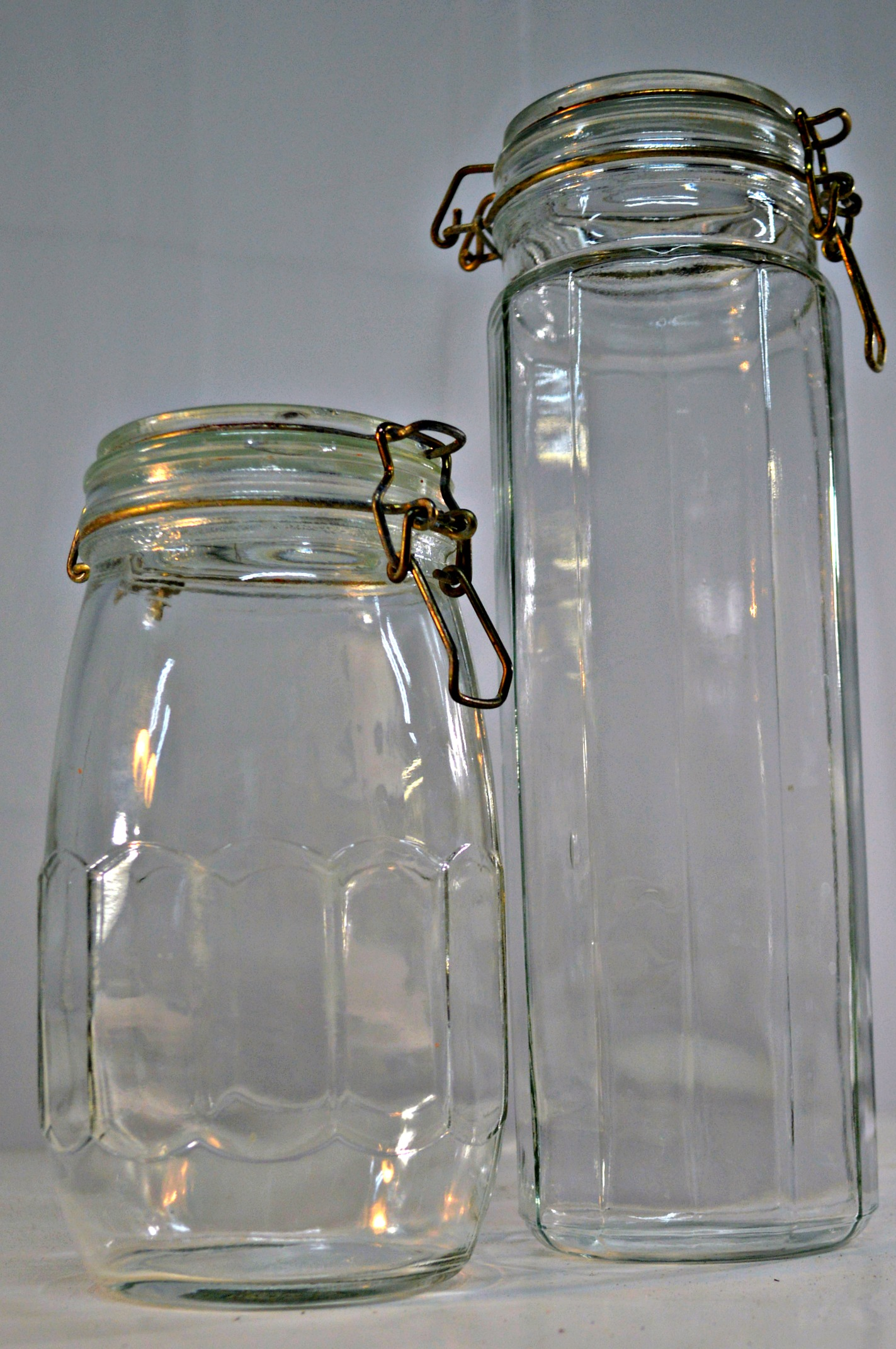 clear glass canisters a pair chairish