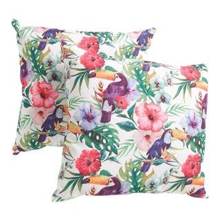Watercolor Parrots & Palms Pillow - A Pair