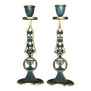 Vintage Brass & Turquoise Candle Holders - A Pair