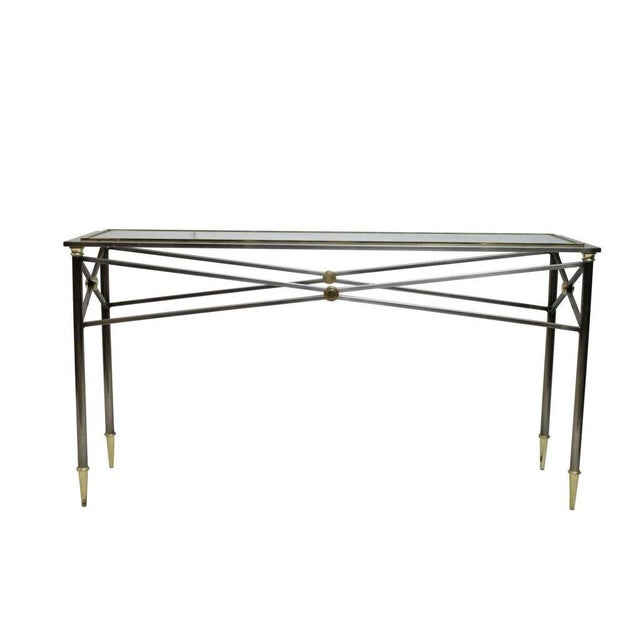 Stainless Steel & Brass Console - Image 1 of 3