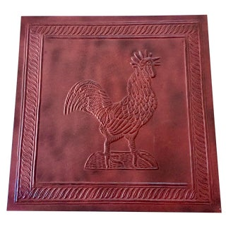 Red Tin Embossed Rooster Wall Hanging