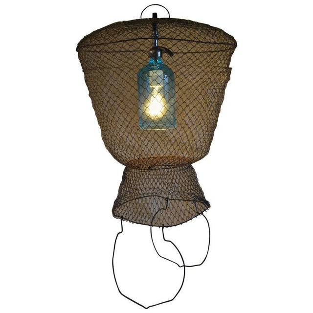 Pendant Light from Seltzer Bottle Suspended in French, Steel Mesh Fish Basket - Image 2 of 11