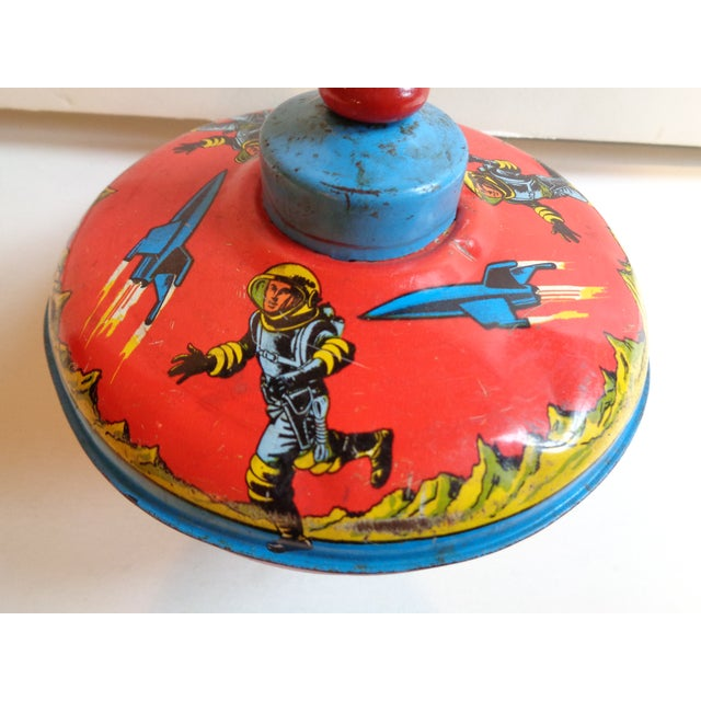 Metal & Wood Spinning Top, 1960s Space Theme - Image 3 of 5