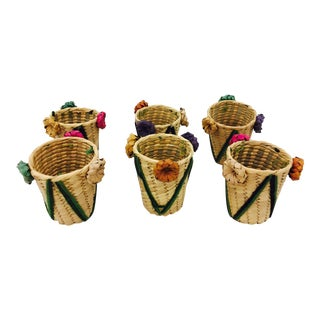 Vintage Woven Grass Cocktail Glass Holders - Set of 6