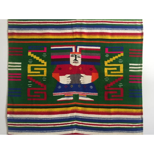 Mexican Rug History: Vintage 1960's Hand Woven Mayan Zapotec Mexico Wool