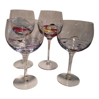 Vintage Red & White Yugoslavian Mosaic Art Wine Glasses - Set of 4