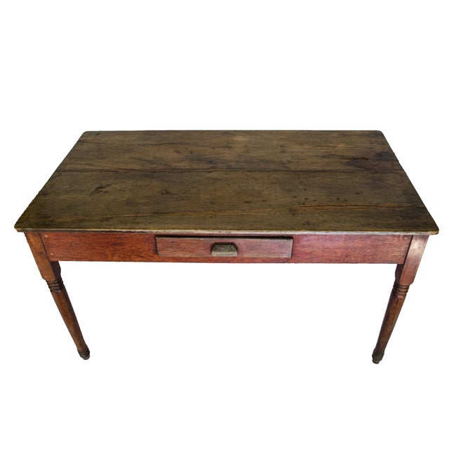 Vintage Farm Table with a Single Drawer - Image 3 of 4