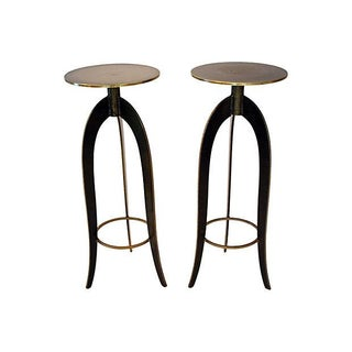 Hand-Forged Brass & Granite Plant Stands - A Pair